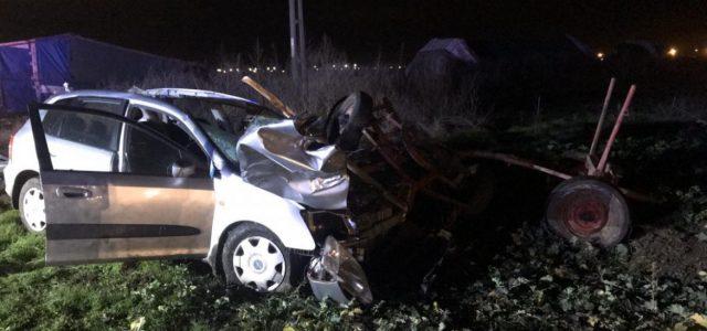 Accident între o căruță și un autoturism, pe DJ 709B. Calul a murit, iar șoferul e grav rănit