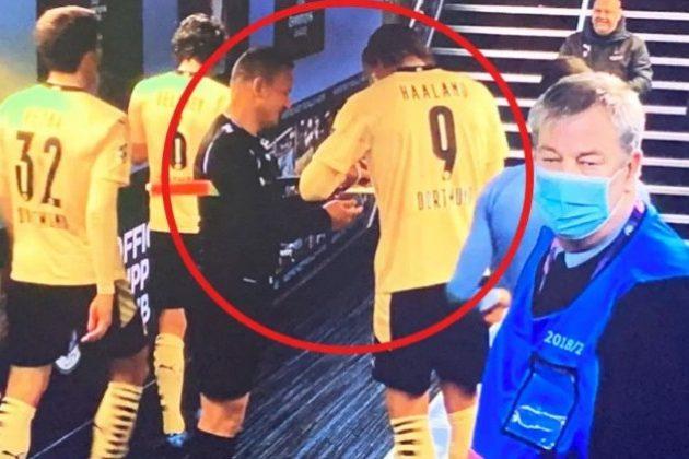 Champions League: Când Haaland semnează un autograf … pentru arbitrul asistent român